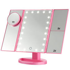 Tabletop Vanity Mirror With Lights Magicfly 10x 3x 2x 1x Magnifying Mirror 21 Led Lighted Tri Fold