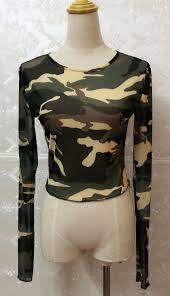 army pattern crop top camouflage print women long sleeve slim t shirt fashion o neck lady