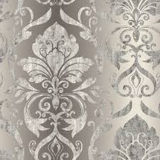 lulu charcoal smiling damask wallpaper contemporary wallpaper