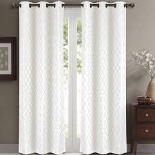 108 In Blackout Curtains by Luxury Egyptian Bedding Willow Jacquard White Grommet Blackout