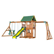 cedar summit play set wooden house deck swings image on awesome