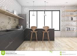 le decor de la cuisine 3d rendant la cuisine avec l étagère et le décor illustration