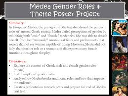 medea gender roles theme poster project summary ppt