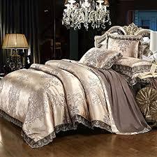 amazon com belles maison satin embroidery duvet cover set luxury