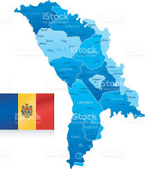 Moldova Flag Map Of Moldova States Cities Flag And Icons Stock Vector Art