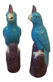 chinese faience parrot figurines a pair chairish