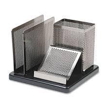 Metal Desk Organizer Distinctions Desk Organizer Metal Wood 5 7 5 X8 7 8x45 Black Silver