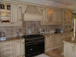 Blue Tile Kitchen Backsplash White Door With Country Cottage Kitchens U Shaped White Maple Wood