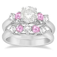 rings pink stones images 5 stone diamond pink sapphire bridal ring set palladium 1 10ct jpg