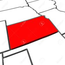 Kansas State Map A Red Abstract State Map Of Kansas A 3d Render Symbolizing
