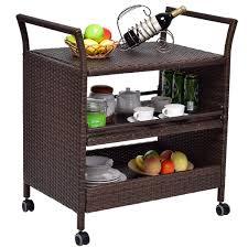rattan rolling serving cart storage shelves rack kitchen