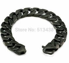 mens black link bracelet images Heavy black stainless steel men 39 s brushed cuban curb link bracelet jpg