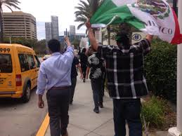 Flag Of Mexico Picture F Ck Donald Trump U0027 Protesters Wave Mexican Flag In Anaheim