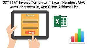 gst tax invoice template in excel numbers mac auto increment id