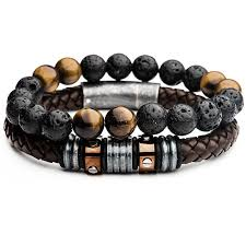 mens bracelet beads images Mason mens bracelet stack w leather and black lava and tiger eye bead png