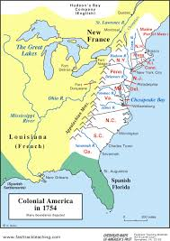 colonial map map colonial america in 1754