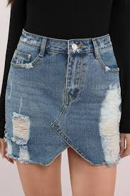demi medium wash distressed denim skirt 40 tobi us