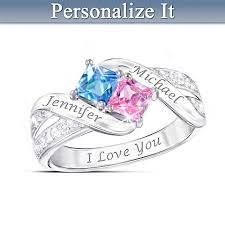 Ring With Name Engraved Together Cheek To Cheek Name Engraved Couples Birthstone Ring