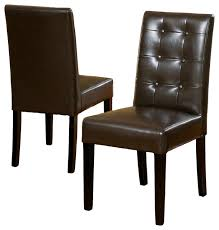 Dining Leather Chair Tufted Leather Dining Chair Dining Room Sustainablepals Brown