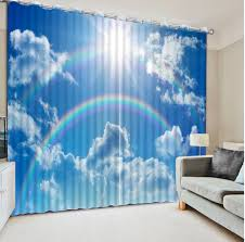 Patterned Window Curtains Blue Sky And White Clouds Beautiful Living Room Curtains Home