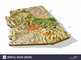 Map Of Arizona Highways by Arizona 3d Relief Map Cut Out With Urban Areas And Interstate