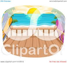 clipart of a beach house balcony over an ocean sunset royalty