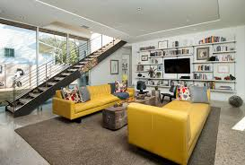 Modern Yellow Sofa Decorating With A Yellow