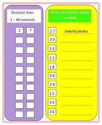 number names worksheet worksheets
