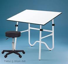 Drafting Table Craft Station Set With Table Pneumatic Stool With