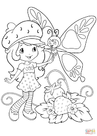 strawberry shortcake and butterfly coloring page free printable