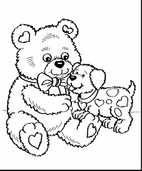 stunning valentines day teddy bear coloring pages with valentines