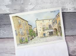 urban sketching watercolour tutorial peratallada spain clare