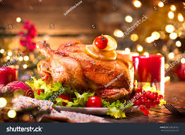christmas dinner roasted chicken winter holiday stock photo