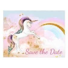 savethedate postcards unicorn birthday party save the date
