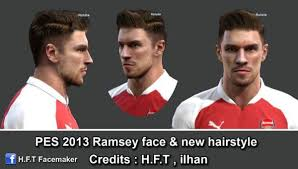 pes 2013 hairstyle pes 2013 ramsey face new hairstyle by h f t pes patch