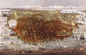 Fabric Wall Murals by San Francisco Birds Eye View 1878 Wall Map Mural