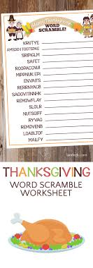 thanksgiving worksheet word scramble landeelu