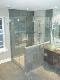 bathroom frameless shower doors with tile wall and floor plus