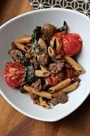 simple vegan italian sausage pasta dinner featuring upton s