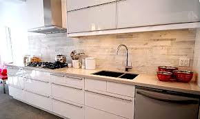 Gray Ikea Kitchen Cabinets With White Beveled Subway Tile - Ikea kitchen cabinets white