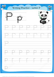 letter p is for panda handwriting practice worksheet free