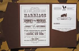 barn wedding invitations brown and farm themed vintage poster style pocketfold