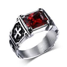 cross rings images Vintage rings stainless steel red dragon cross ring knight templar jpg