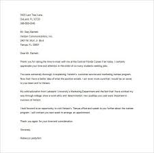 ideas collection thank you letter after career fair email on form