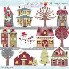 christmas houses christmas houses digital clipart commercial use ok