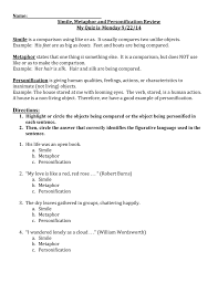 simile metaphor and personification worksheet