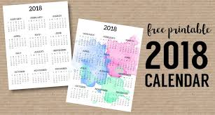 printable calendar year on one page calendar 2018 printable one page paper trail design