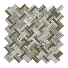shark cove basketweave unique shapes grey glass and stone tile 540 522