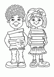 children with books coloring page for kids back to