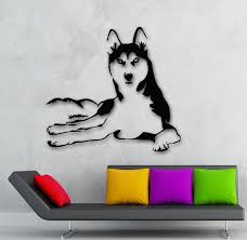 popular zoo animal decorations buy cheap zoo animal decorations qt021 husky dog sticker stylish fashion zoo animals wall decal art vinyl sticker for living room